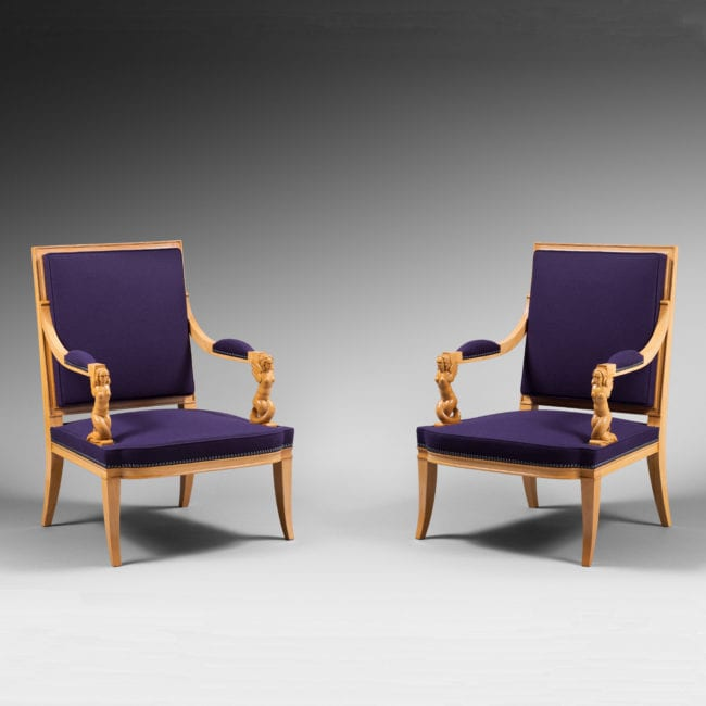 Rare pair of 'mermaid' armchairs
