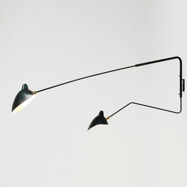 Wall-light with two arms, one bent
