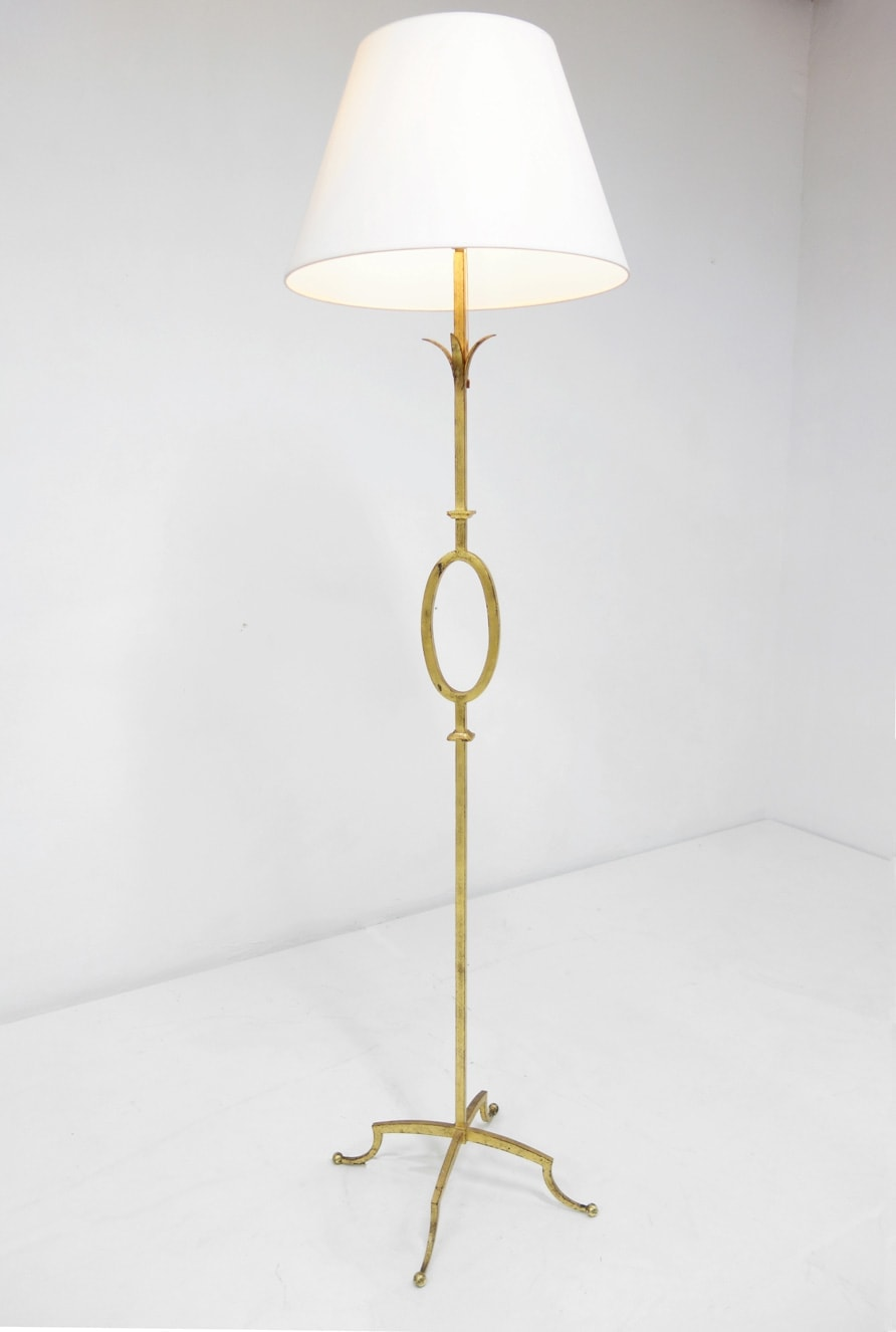 Gilbert Poillerat, Gilt wrought iron floor lamp, vue 01