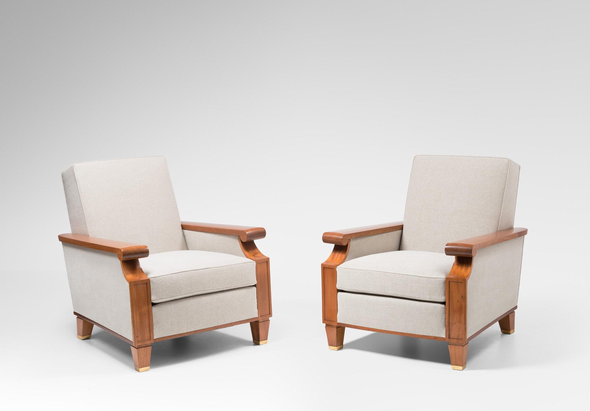 Important et rare pair of armchairs for the Palais des Consuls in Rouen, vue 02