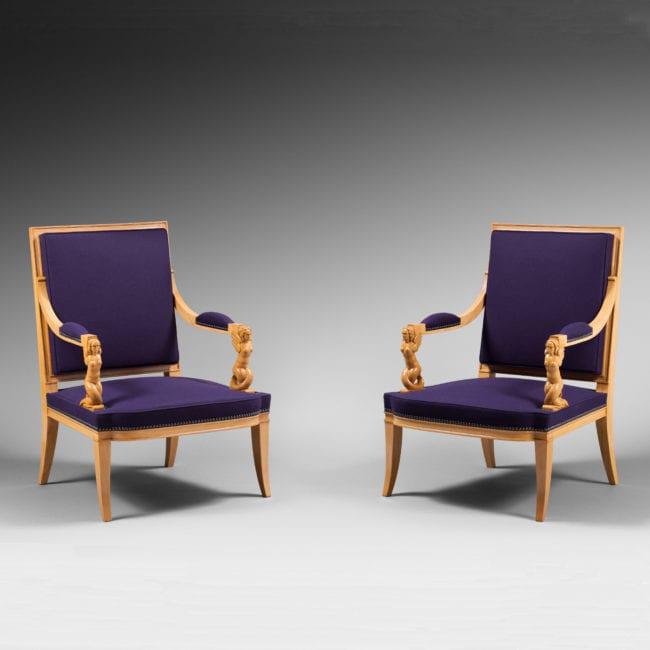 Rare paire de fauteuils « Sirènes »