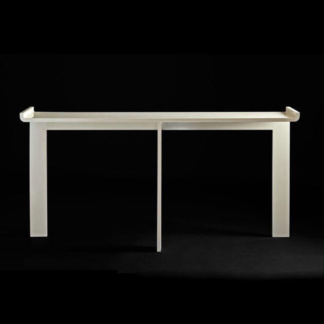 Ivory lacquered console