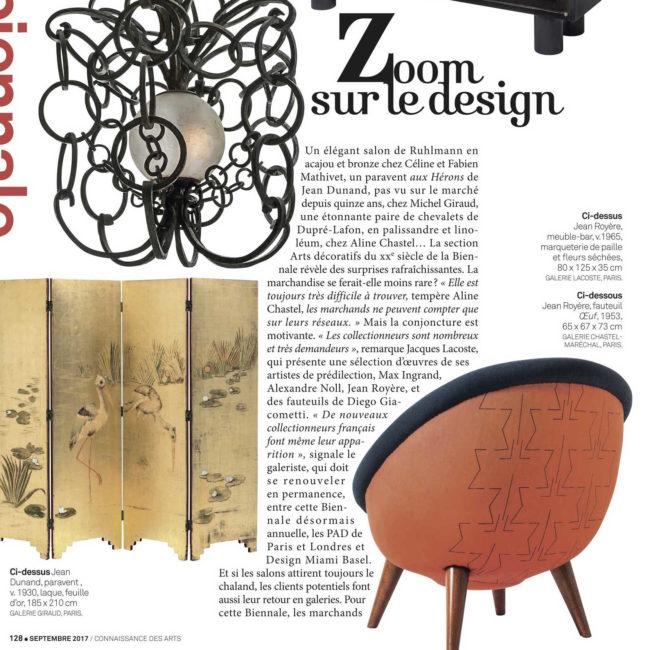 connaissance des arts, magasine, presse, article, biennale, design