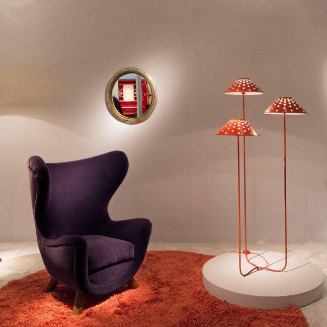 """PAD paris 2018, rare lampadaire """"champignon"""" ainsi qu'un fauteuil éléphanteau, rare miroir lumanline Line Vautrin"""