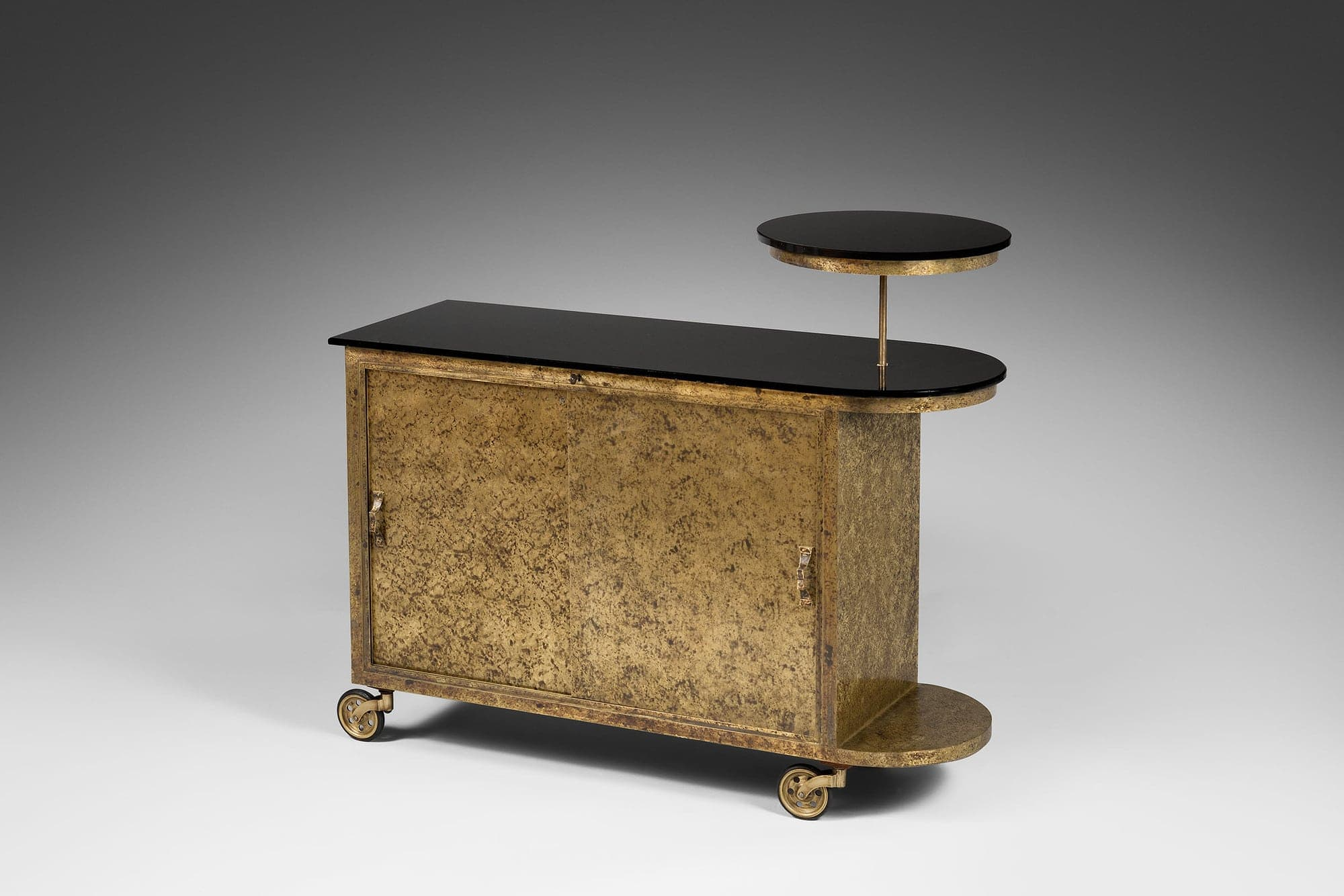 Eugène Printz, Rare dessert trolley forming bar on wheels (Sold), vue 02