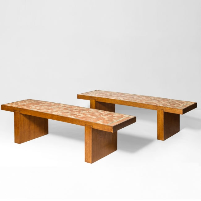 Jacques Adnet & Jacques Lenoble, pair of rectangular low tables