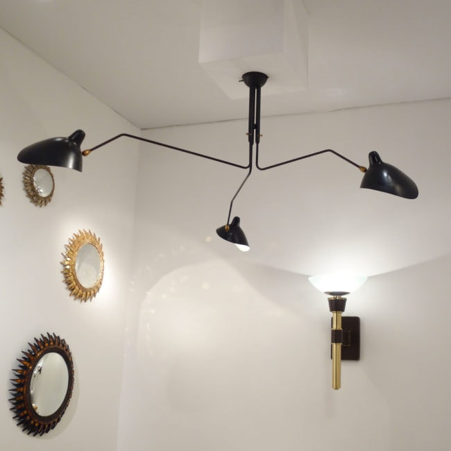 Serge Mouille, ceiling lamp with three pivoting arms