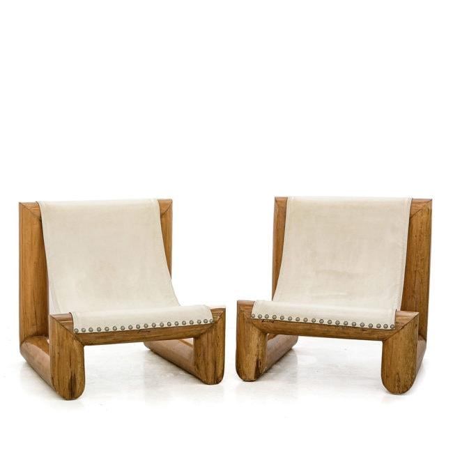 Jose Zanine Caldas, Très rare paire de sièges 'Tronco' (vendue)