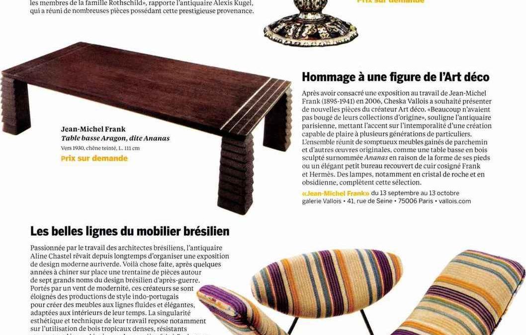 Beaux Arts magazine – Les belles lignes du mobilier brésilien – Septembre 2018
