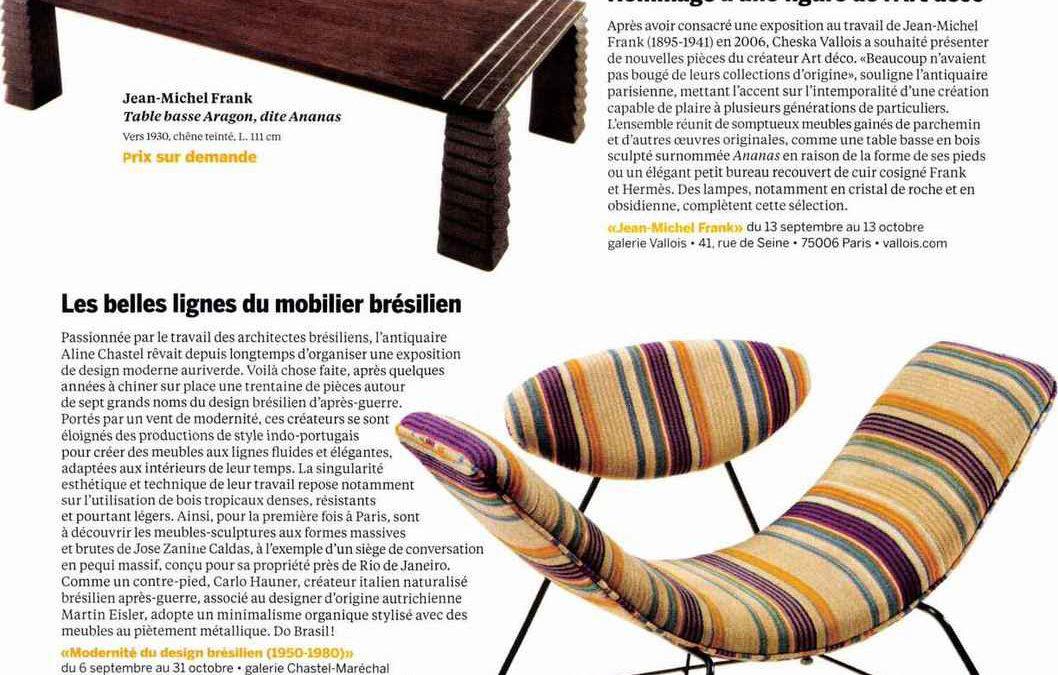 Beaux Arts magazine – Les belles lignes du mobilier brésilien – September 2018