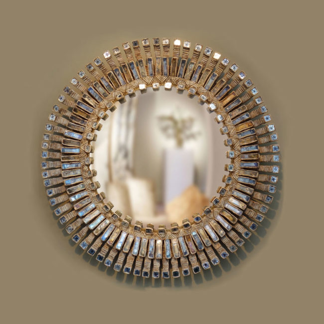 "Line Vautrin, Large ""Romain"" mirror with stars"
