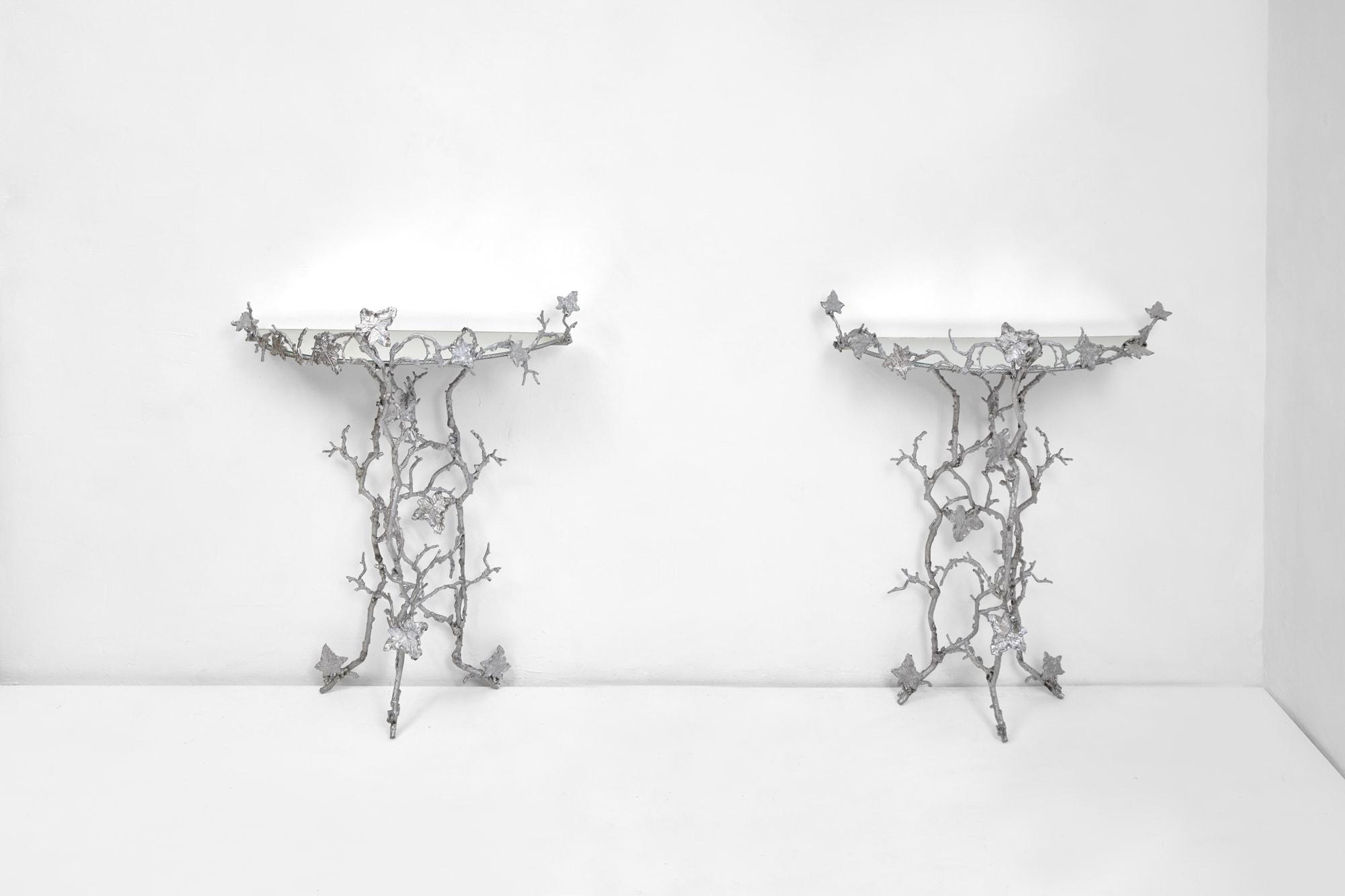 """Joy de Rohan Chabot, """"Un Lierre en Hiver"""" pair of console tables, vue 01"""