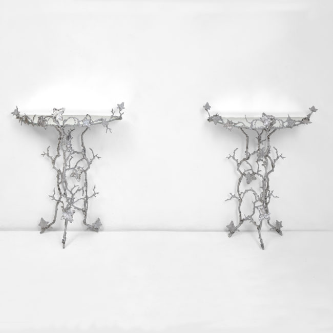 "Joy de Rohan Chabot, ""Un Lierre en Hiver"" pair of console tables"