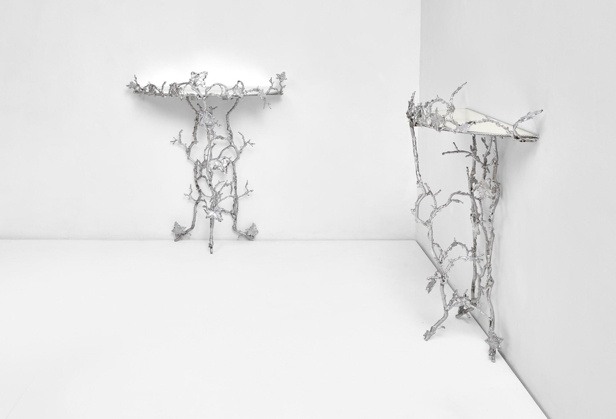 """Joy de Rohan Chabot, """"Un Lierre en Hiver"""" pair of console tables, vue 02"""