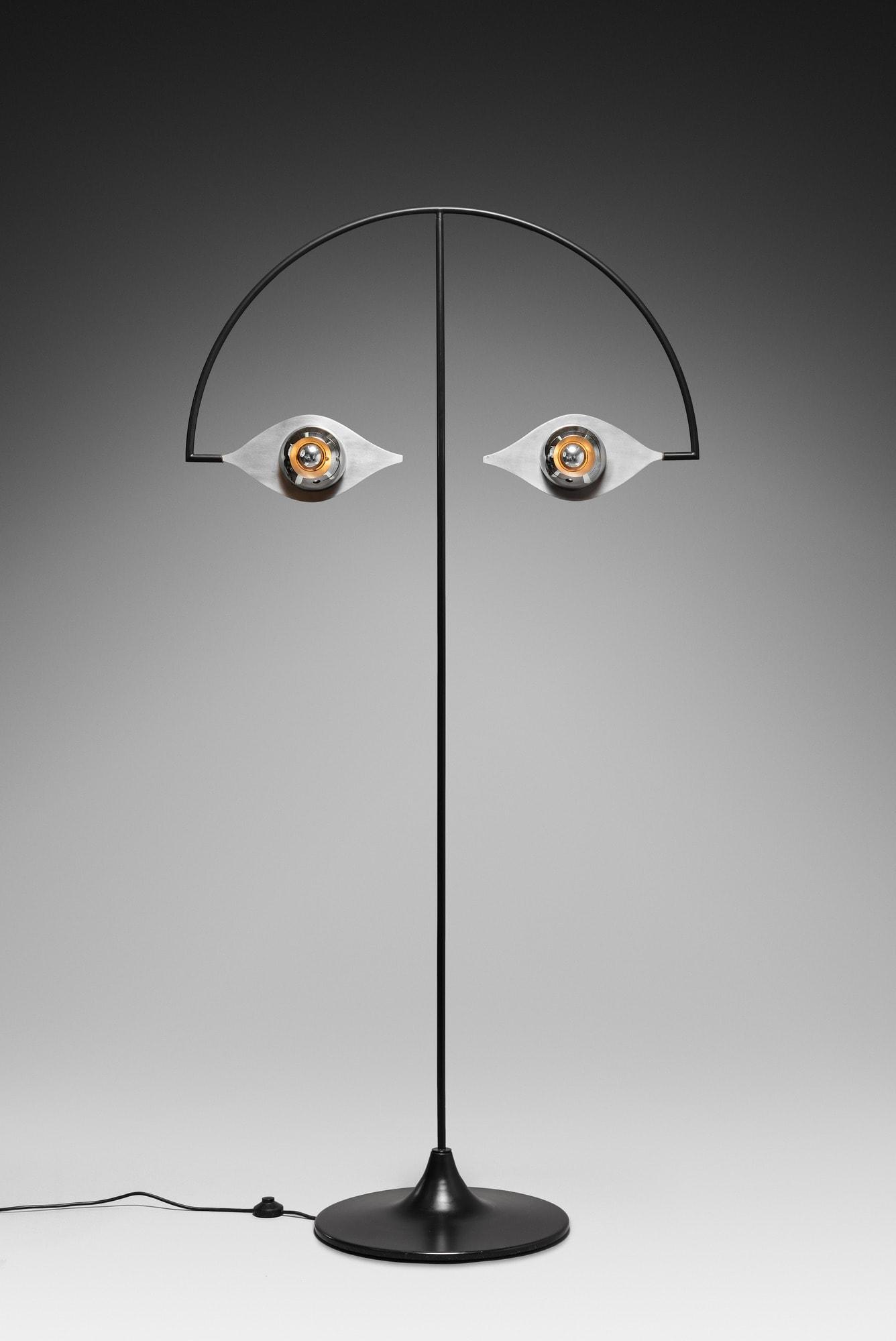 """Yonel Lebovici, Rare """"Les Yeux sans visage"""" floorlamp, vue 01"""
