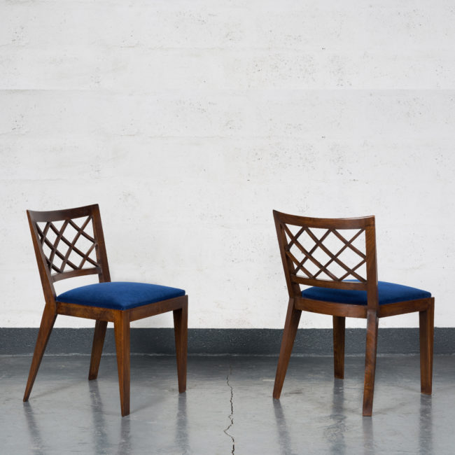 "Jean Royère, Pair of ""Croisillons"" chairs"