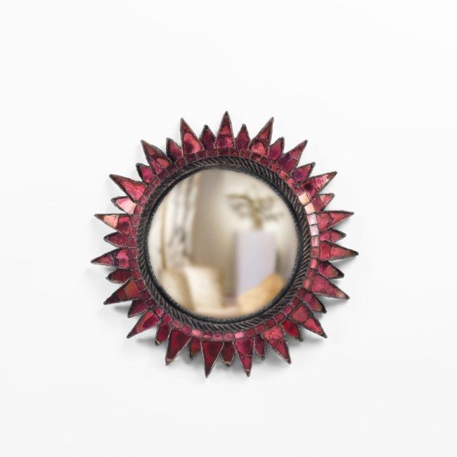 Line Vautirn, Miroir «Soleil à pointes n°2» fuschia (vendu)