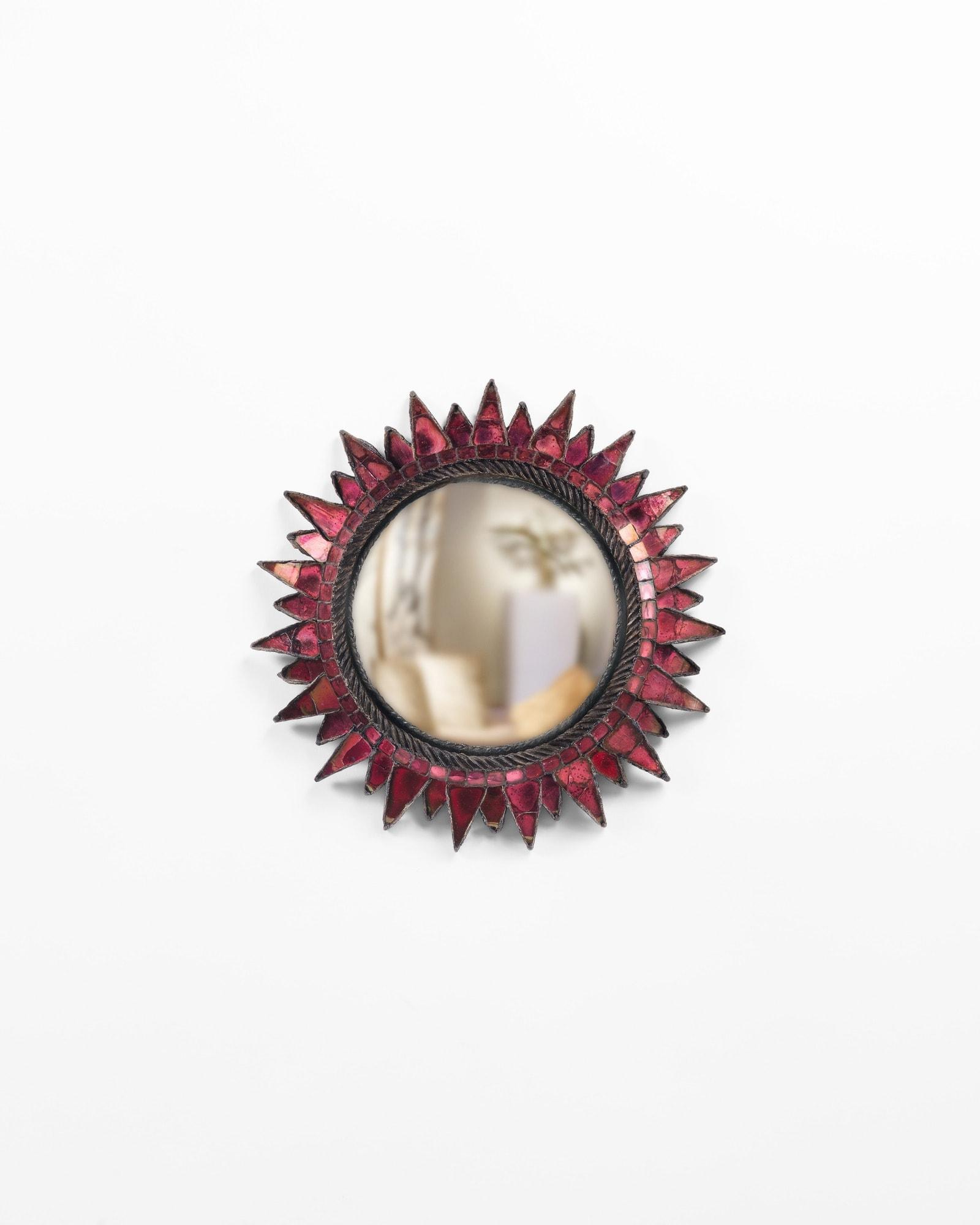 "Line Vautirn, Miroir ""Soleil à pointes n°2"" fuschia (vendu), vue 01"