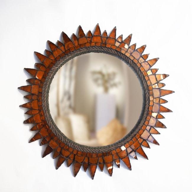 """Line Vautrin, Orange """"Soleil à pointes n°3"""" mirror"""