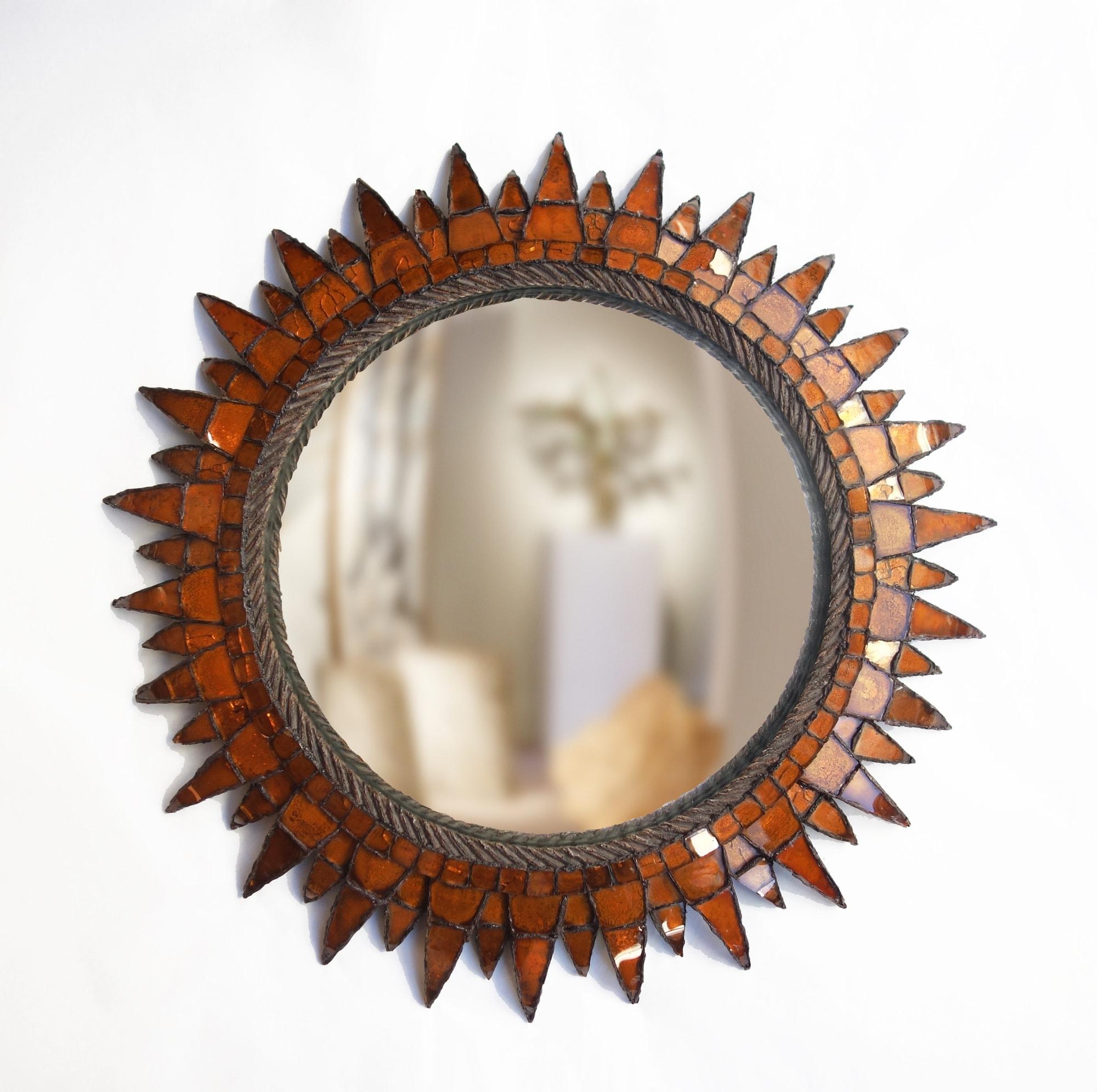 """Line Vautrin, Orange """"Soleil à pointes n°3"""" mirror, vue 01"""