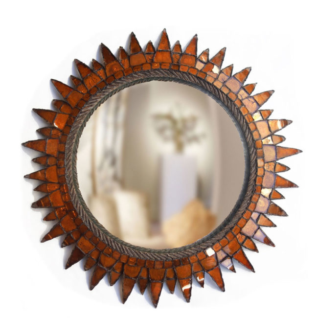 "Line Vautrin, Orange ""Soleil à pointes n°3"" mirror"