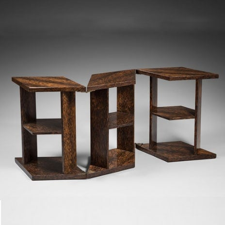 Eugène Printz, Rare and exceptional side table «Eventail» (Fan) or «Mouchoir» (Tissue)