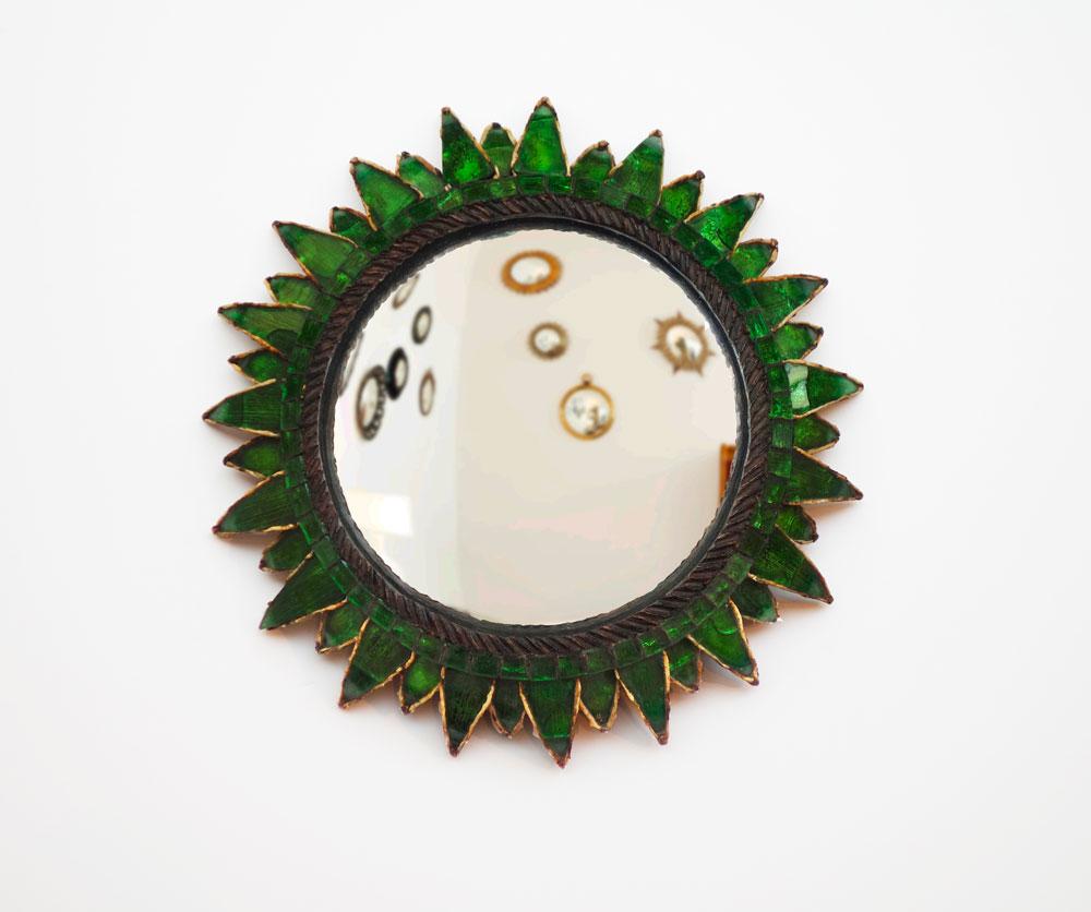 """Line Vautrin, Green """"Soleil à pointes n°2"""" mirror, vue 01"""