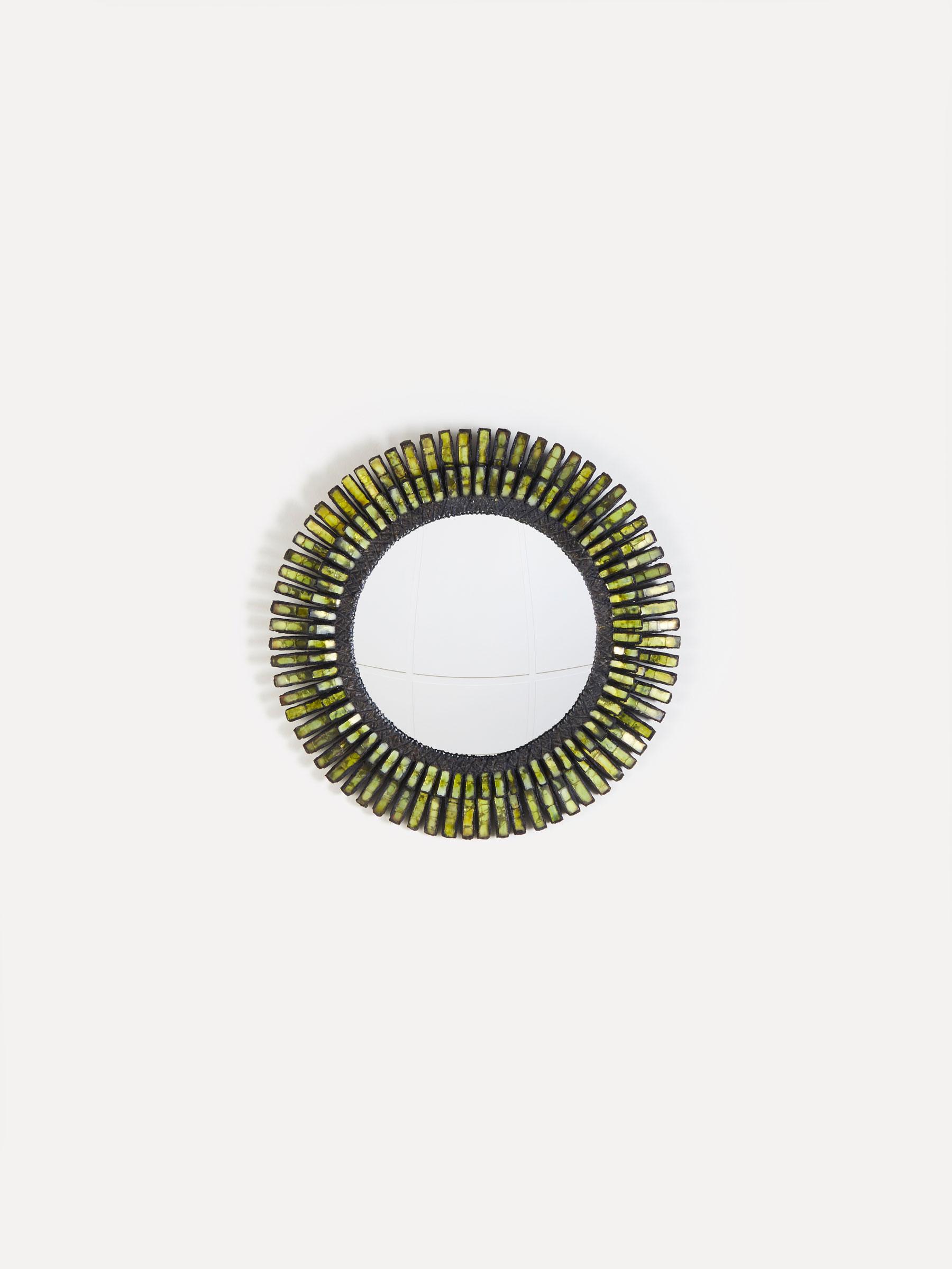 """Line Vautrin, Miroir """"Romain"""" vert, vue 01"""