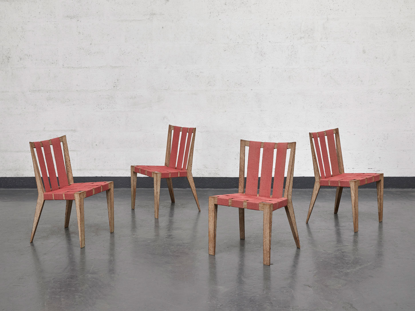 """Jean Royère, Set of 4 """"Sangles"""" chairs, vue 01"""