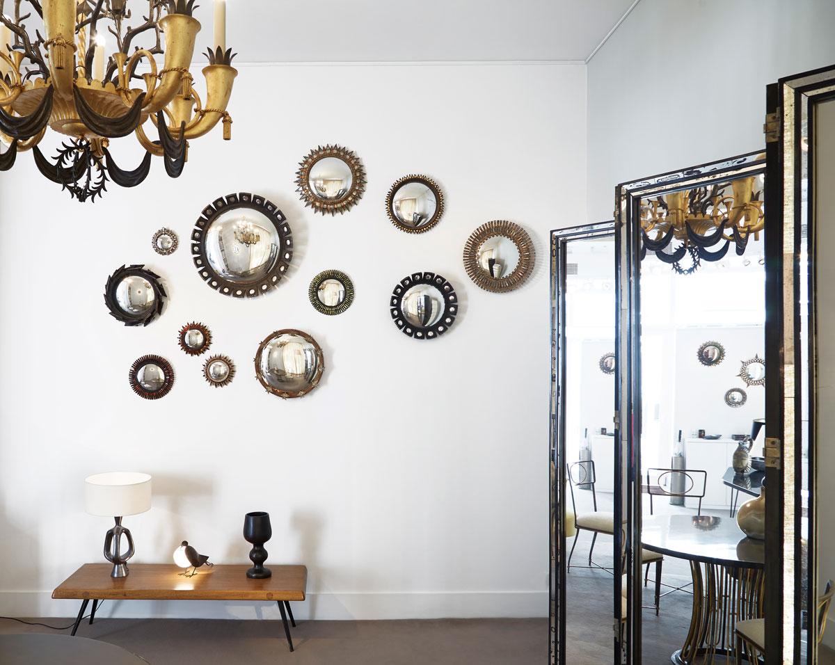 Miroirs de Line Vautrin à la galerie Chastel-Maréchal
