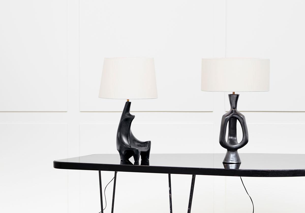 Georges Jouve, Lampe sculpturale en céramique, vue 03