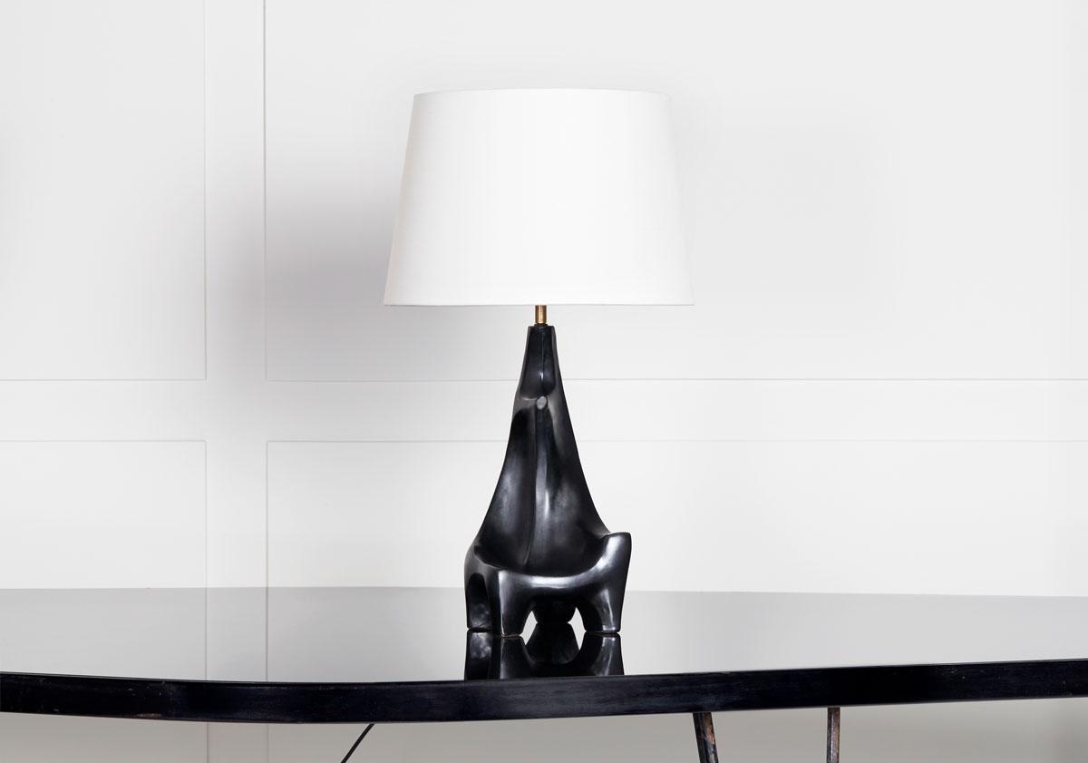 Georges Jouve, Lampe sculpturale en céramique, vue 01