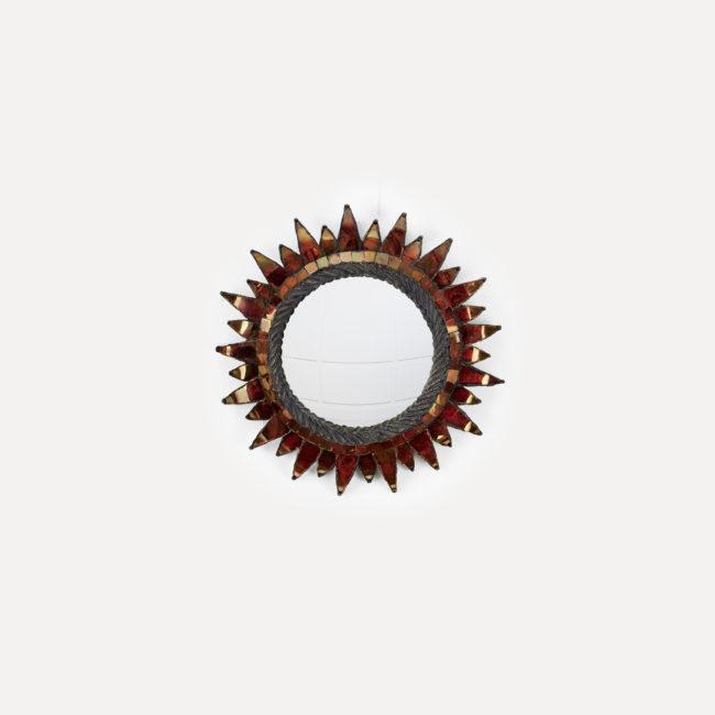 """Line Vautrin, Miroir """"Soleil à pointes"""" n°1 rouge"""