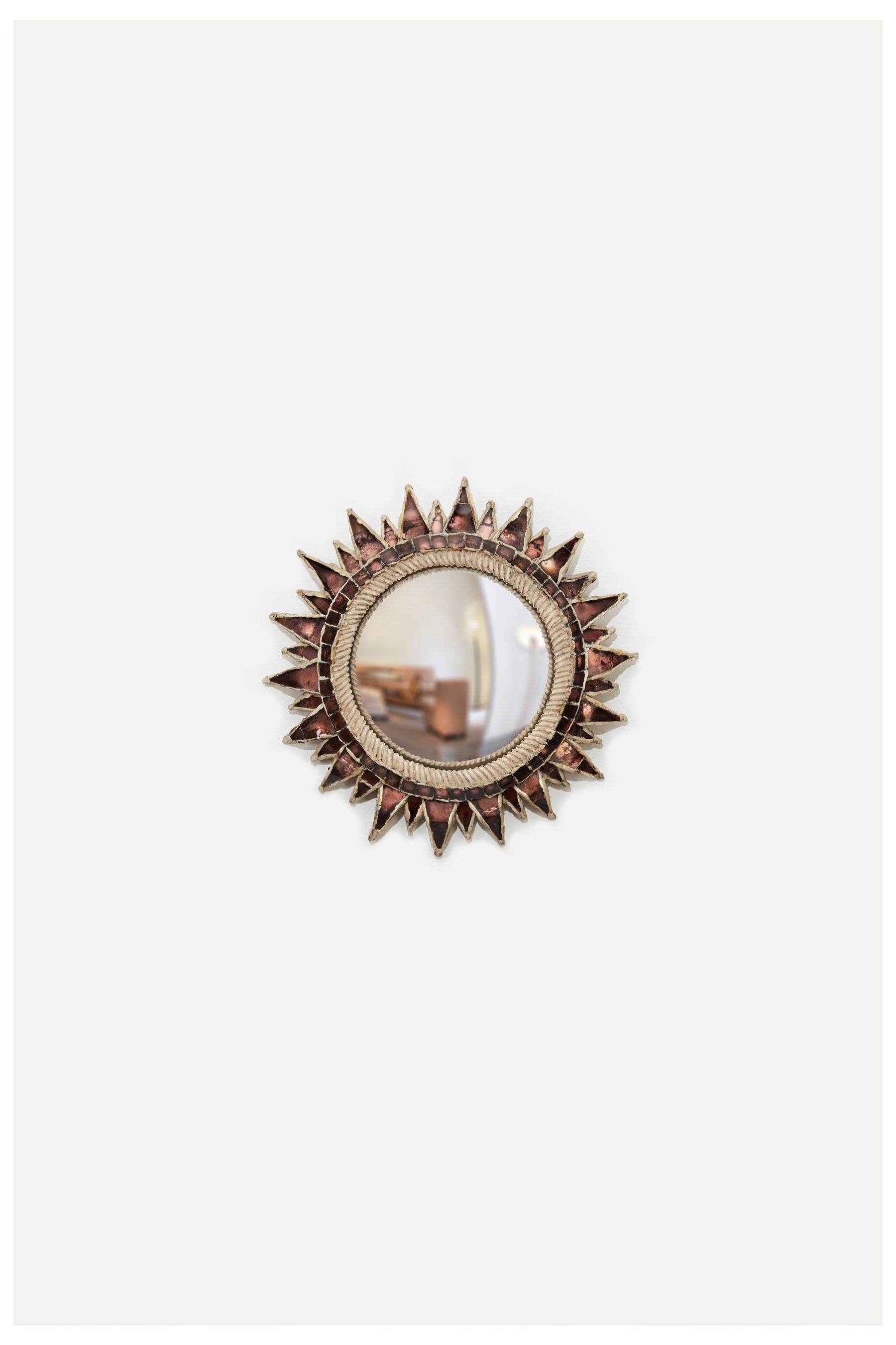 """Line Vautrin, Miroir """"Soleil à pointes"""" n°1 rose, vue 01"""