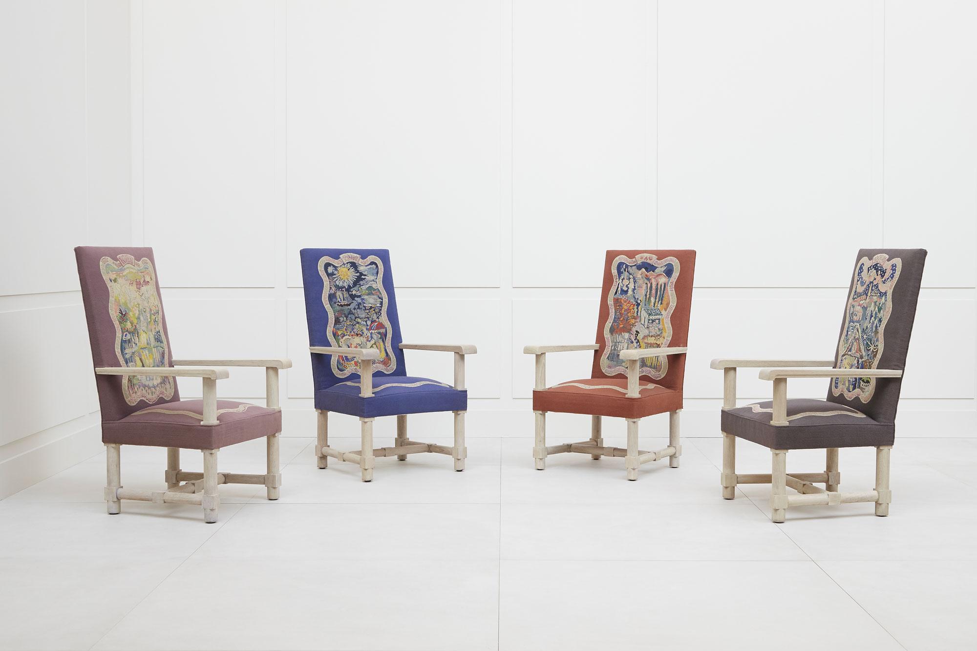 Jacques Adnet, Suite de quatre fauteuils «Les Quatre Saisons», vue 01