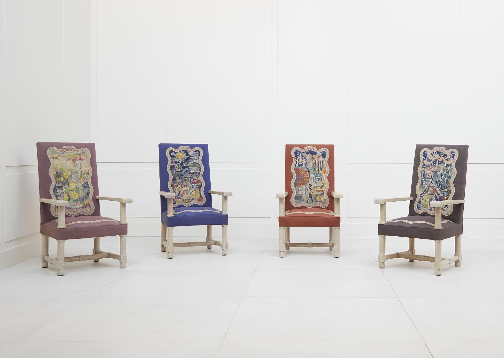 Jacques Adnet, Suite de quatre fauteuils «Les Quatre Saisons», vue 02