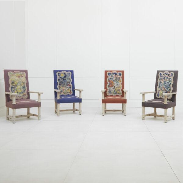 Jacques Adnet, Suite de quatre fauteuils «Les Quatre Saisons»