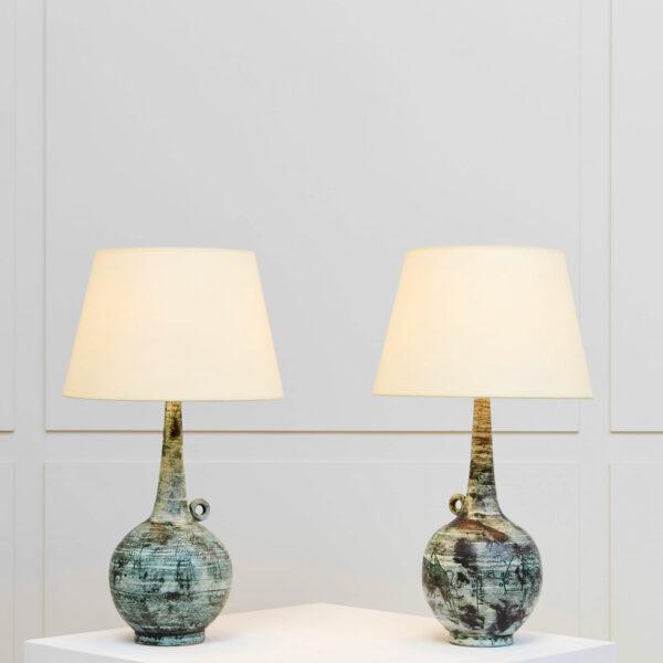"""Jacques Blin, Paire de lampes """"Tauromachie"""""""
